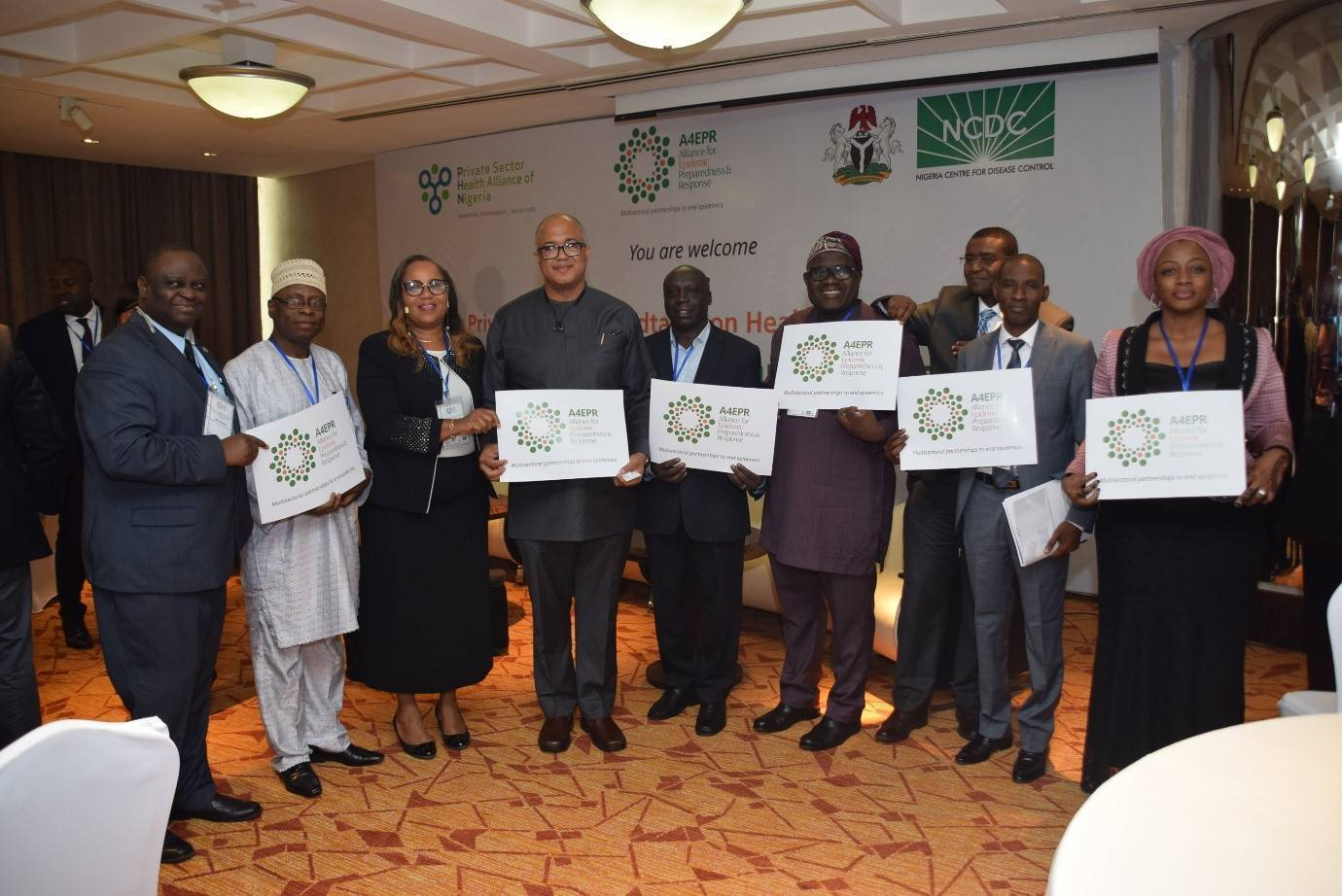 NCDC Chief Executive and the NCDC/WHO/AFENET Team at the launch of A4EPR