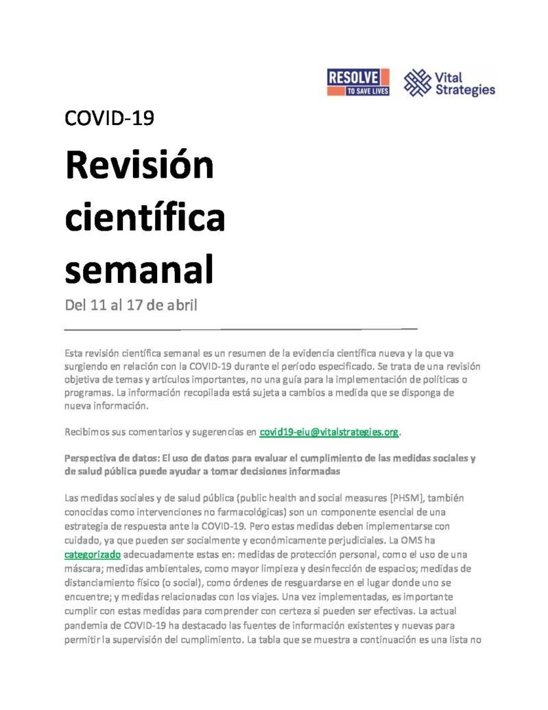 Science Review Spanish April 11–17 2020 cover