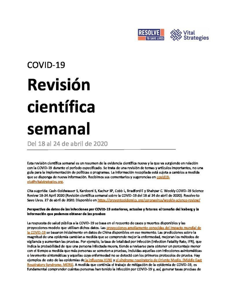 Science Review Spanish April 18 - 24 2020 cover