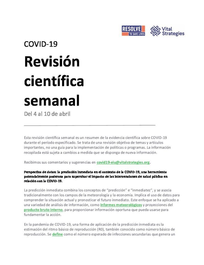 Science Review Spanish April 4-10 2020 cover
