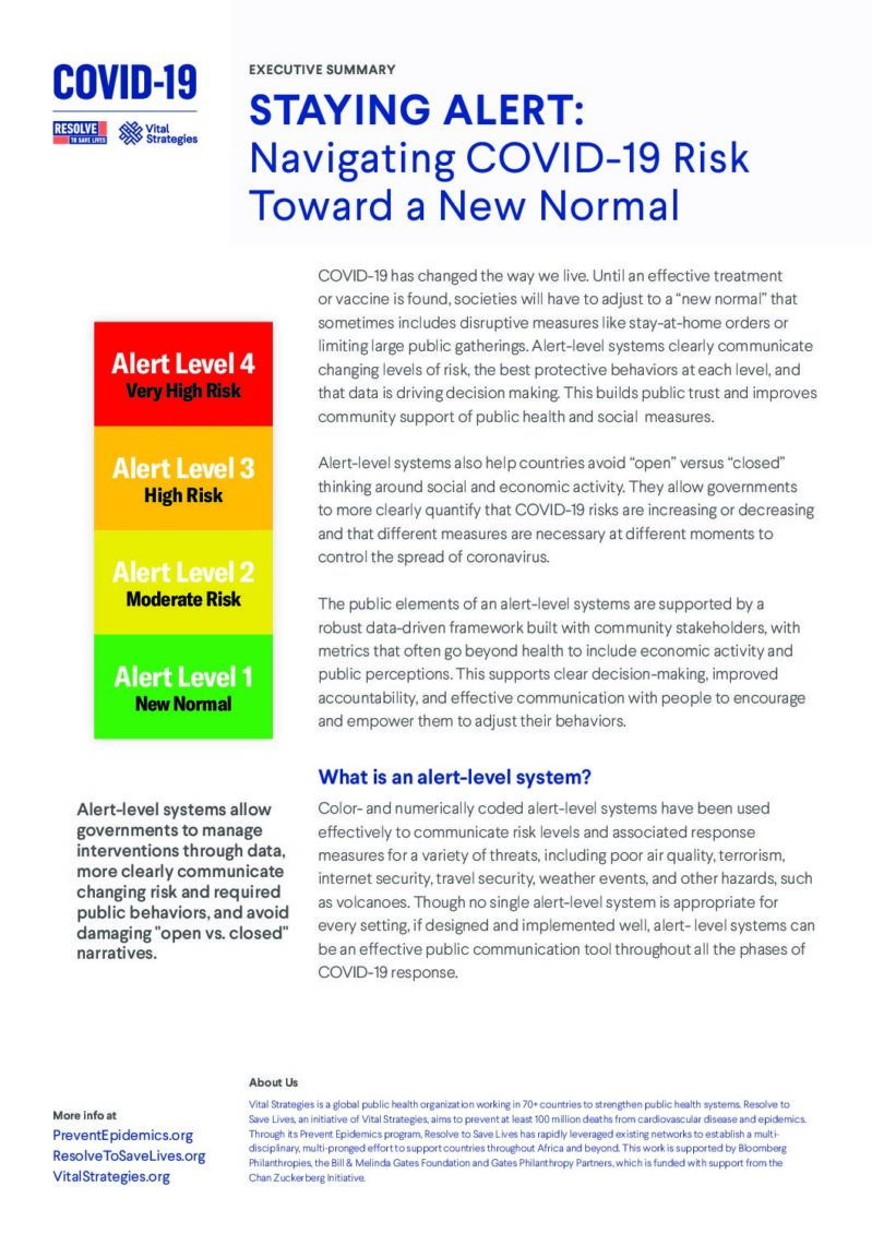 Executive Summary | Staying Alert: Navigating COVID-19 Risk Toward a New Normal cover