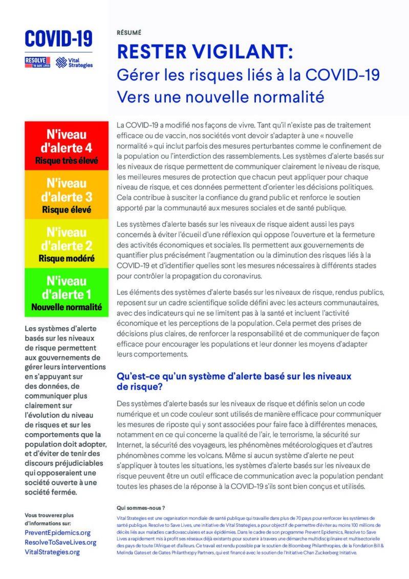 Rester Vigilant: Gérer les risque liés à la COVID-19, Vers une nouvelle normalité cover