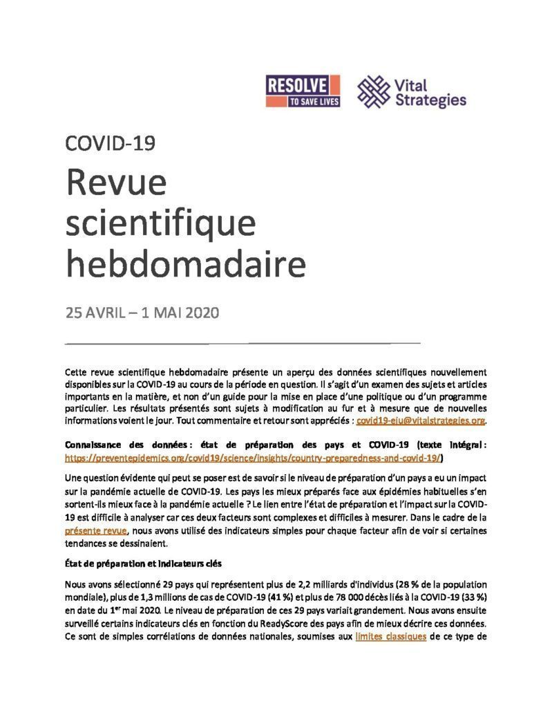Science Review French April 25 - May 1 2020 cover