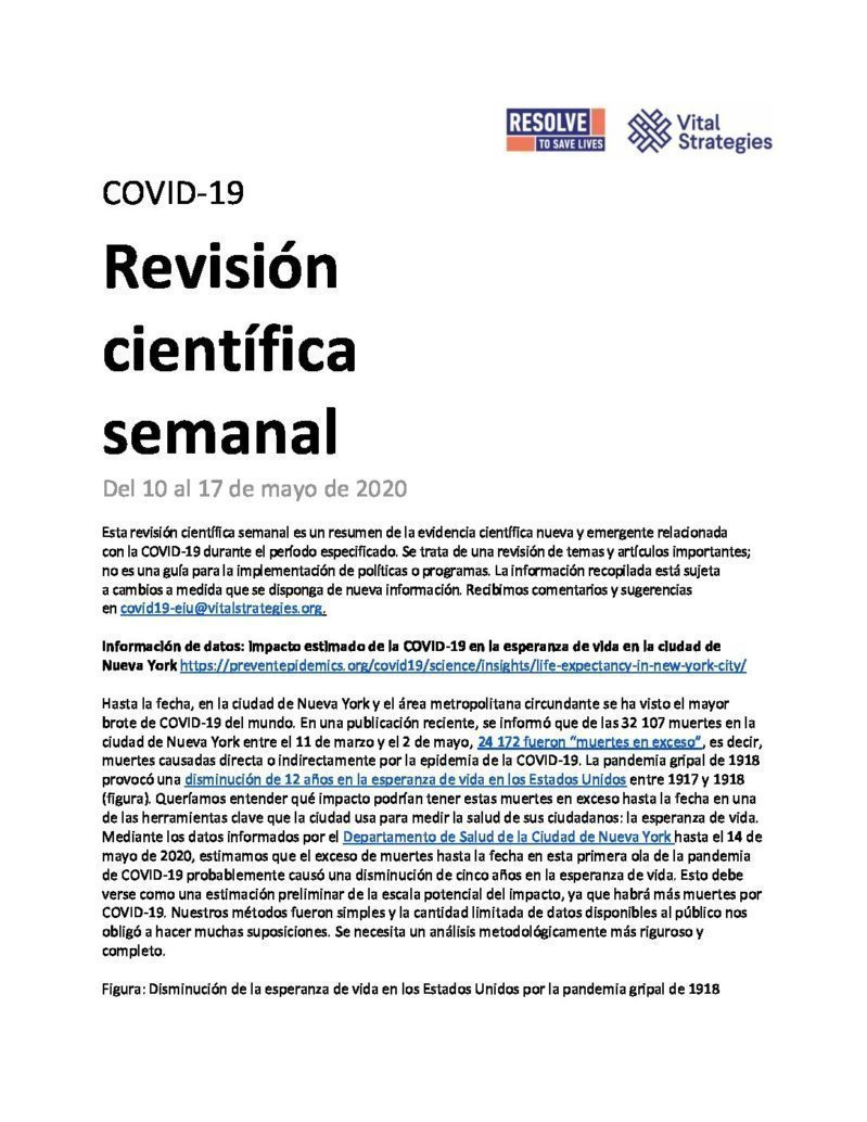 Science Review Spanish May 10-17 2020 cover