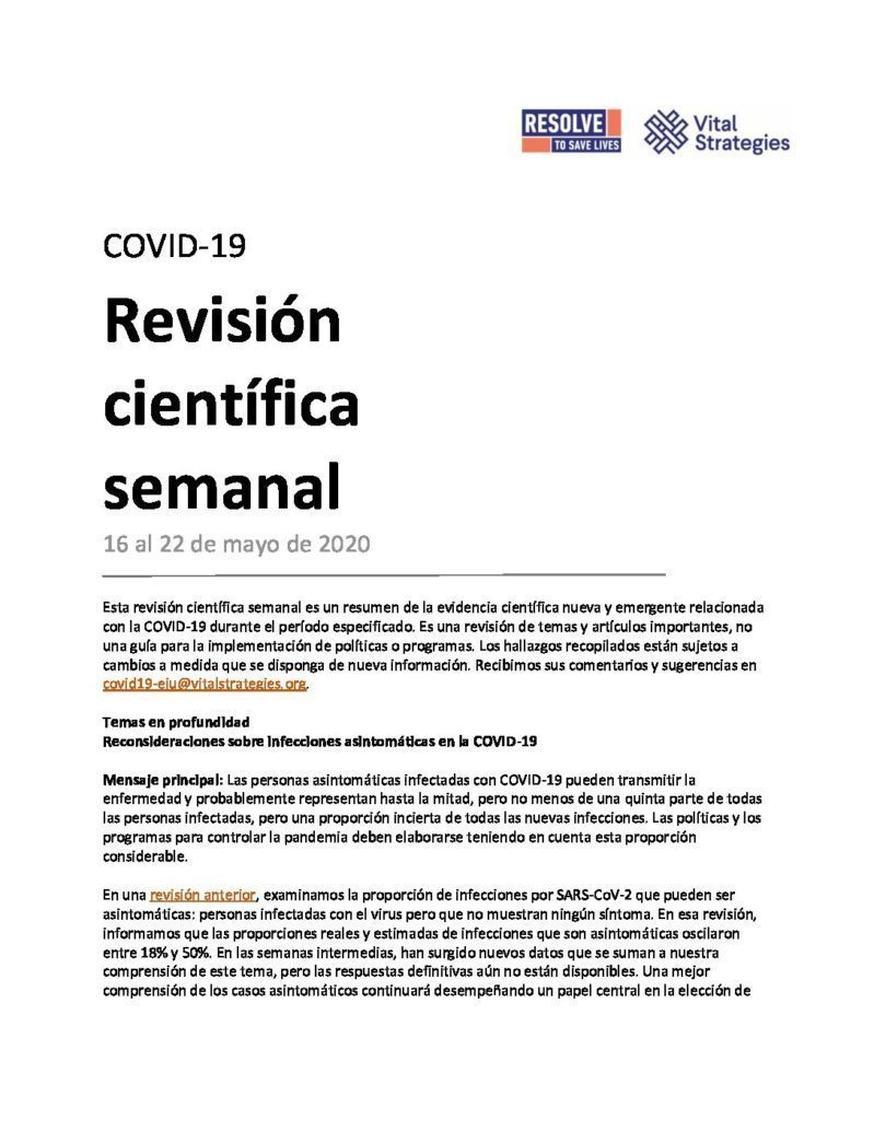 Science Review Spanish May 16 - 22 2020 cover