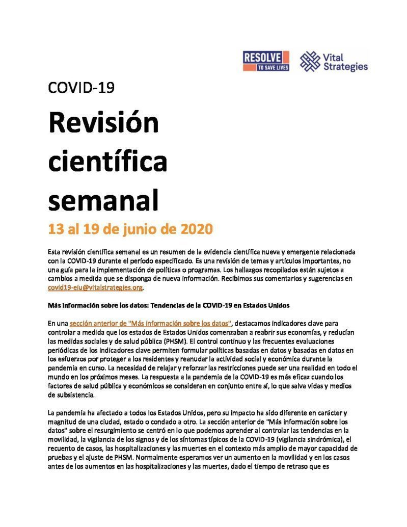 Science Review Spanish June 13-19 2020 cover