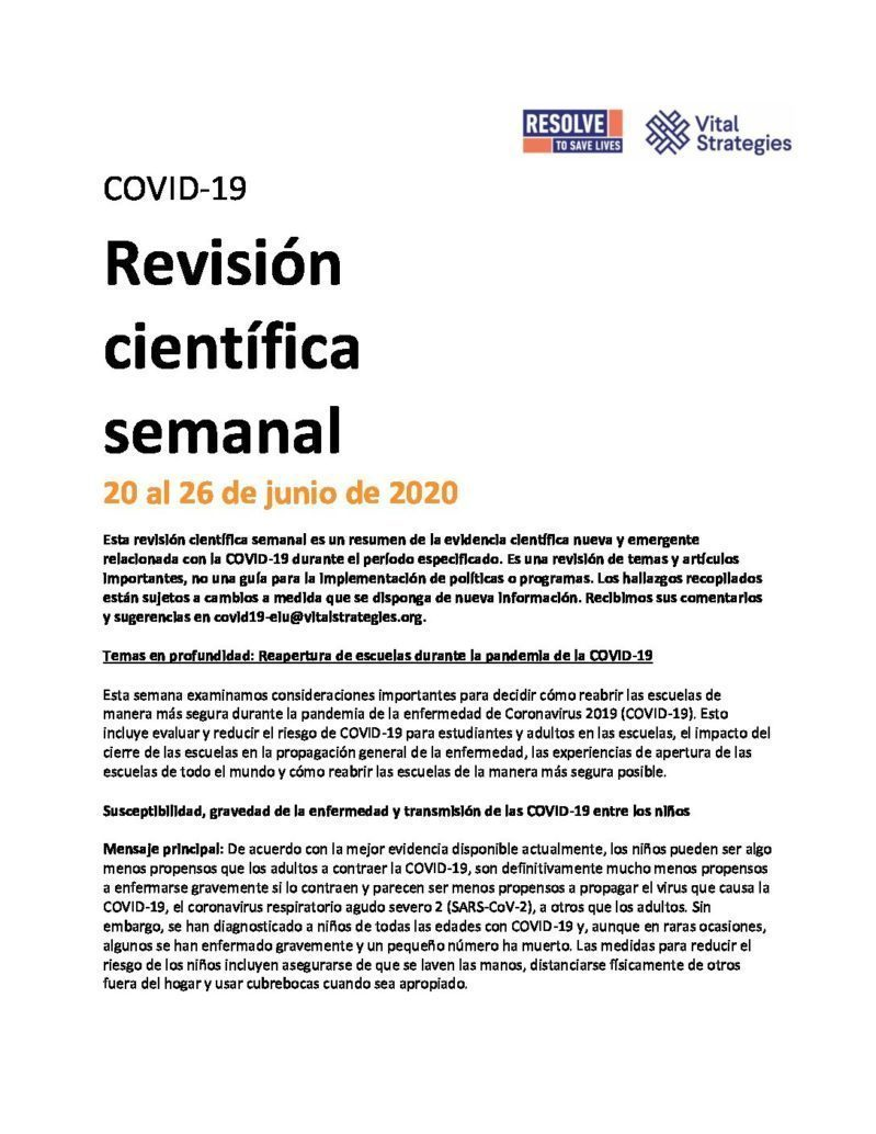 Science Review Spanish June 20-26 2020 cover