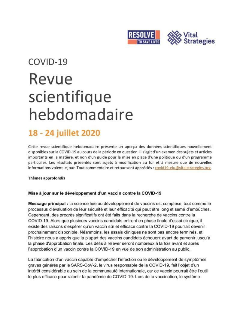 Weekly Science Review French July 18-24 2020 cover