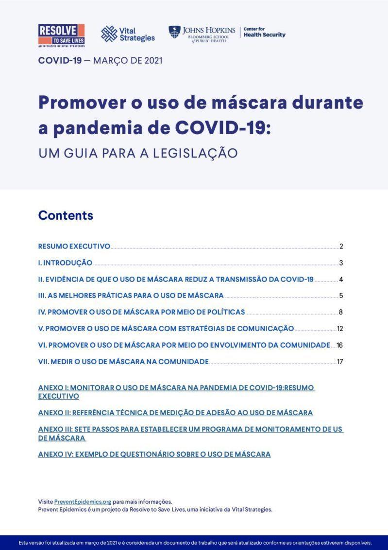 Promover o uso de máscara durante a pandemia de COVID-19: um guia para a legislação cover