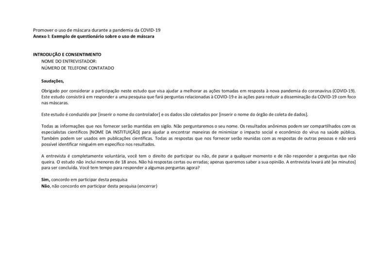 Anexo I :Exemplo do questionário sobre o uso de máscara cover