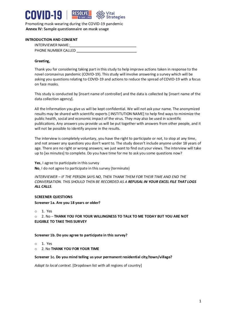 Annex IV | Promoting mask-wearing during the COVID-19 Pandemic: Sample questionnaire on mask usage cover
