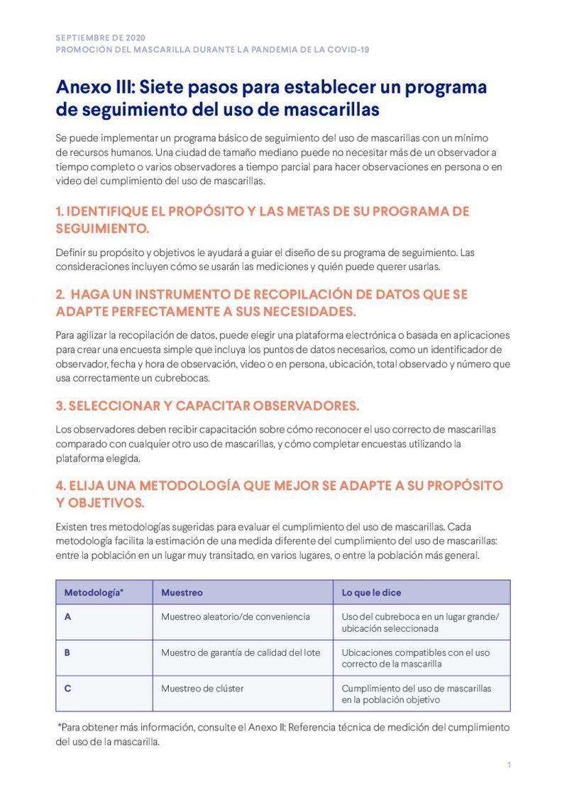 Anexo III | Siete pasos para establecer un programa de seguimiento del uso de mascarillas cover