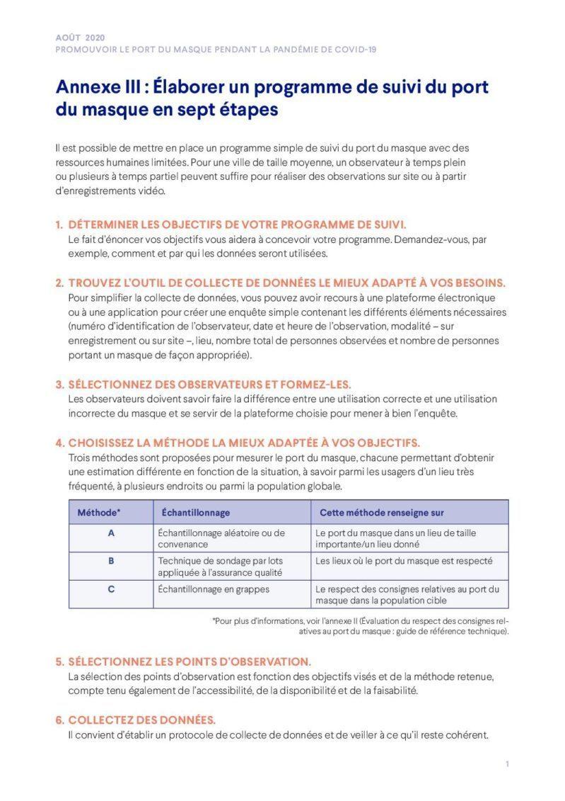 Promouvoir le port du masque pendant la pandémie de COVID-19 | Annexe II: Évaluation du respect des consignes relatives au port du masque : guide de référence technique cover