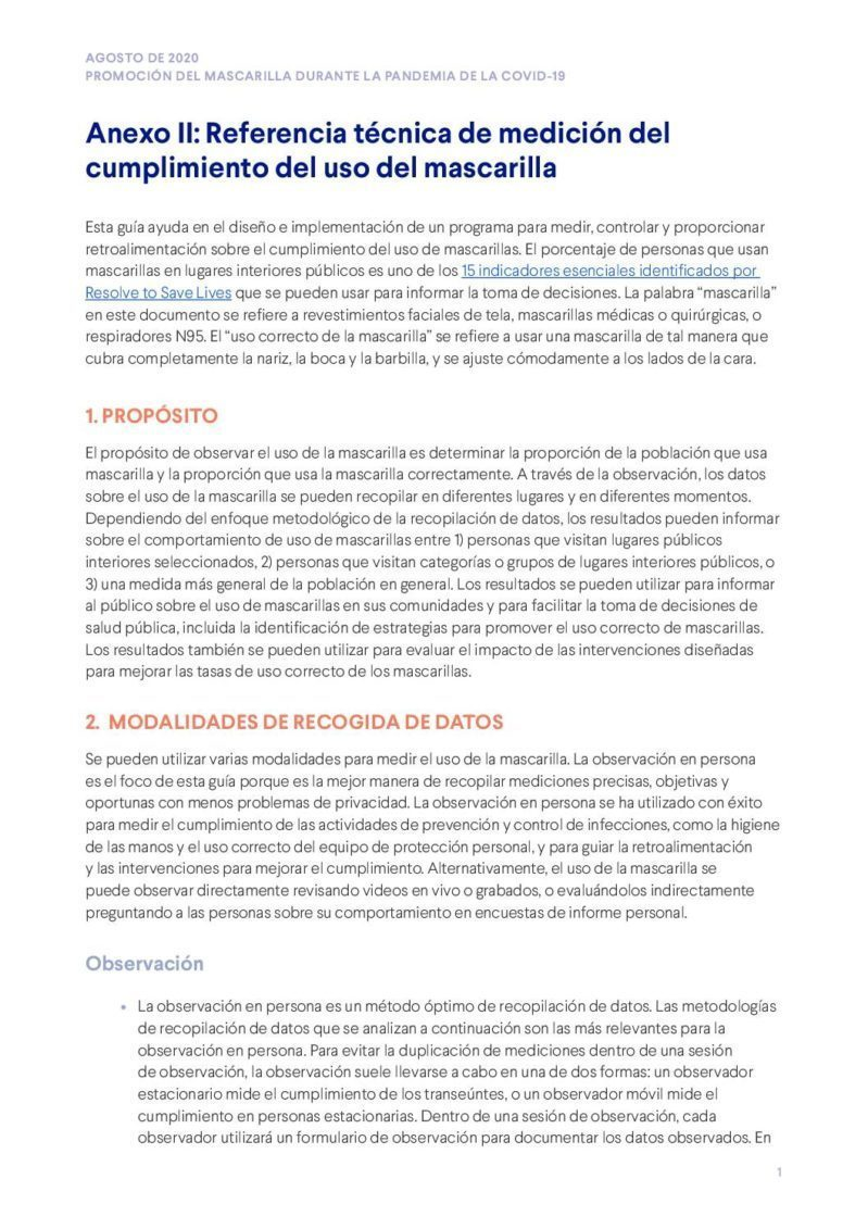 Promoción del mascarilla durante la pandemia de la COVID-19 | Anexo II (Referencia técnica de medición del cumplimiento del uso del mascarilla cover