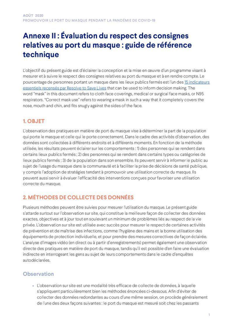 Annexe II | Évaluation du respect des consignes relatives au port du masque: guide de référence technique cover