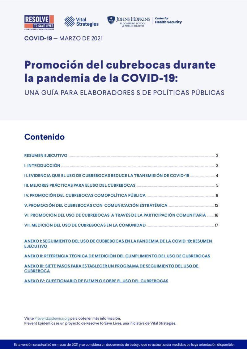 Promoción del mascarilla durante la pandemia de la COVID-19: Una guía del creador de políticas cover