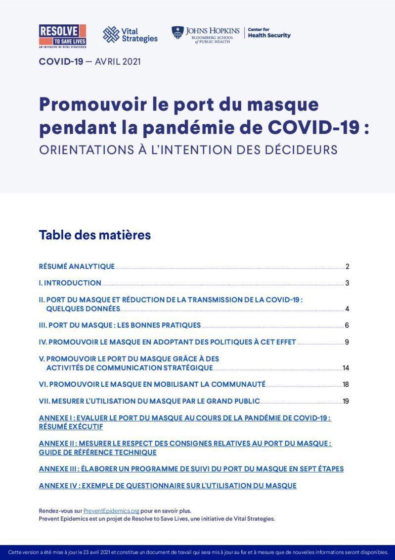 Promouvoir le port du masque pendant la pandémie de COVID-19 : Orientations à l'intention des décideurs cover