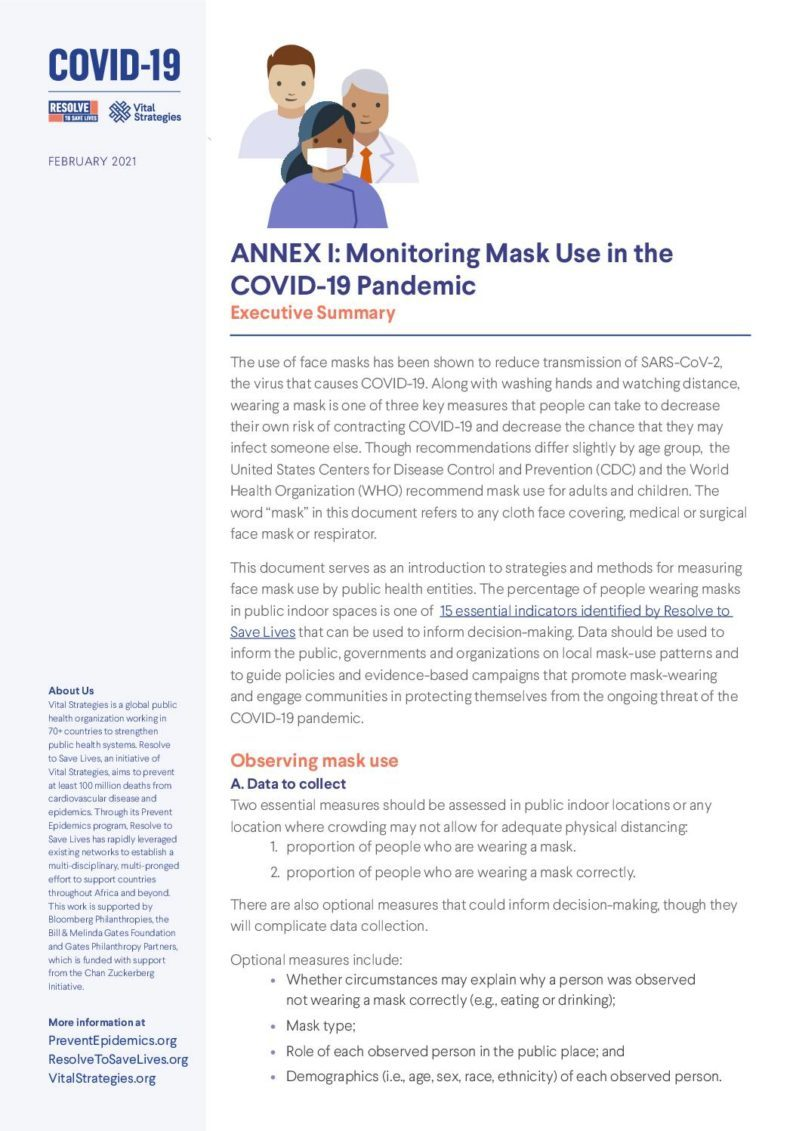 Annex 1 | Executive Summary: Monitoring Mask Use in the COVID-19 Pandemic cover