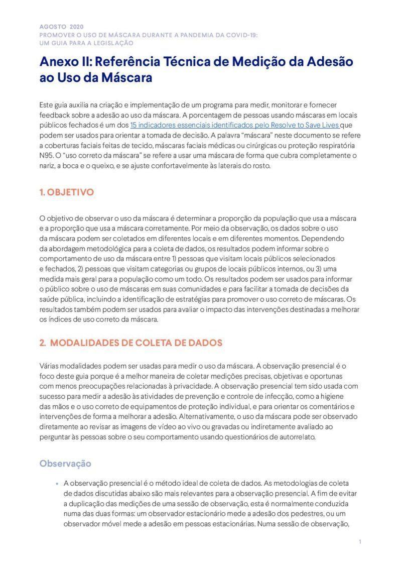 Anexo II | Referência Técnica de Medição da Adesão ao Uso da Máscara cover