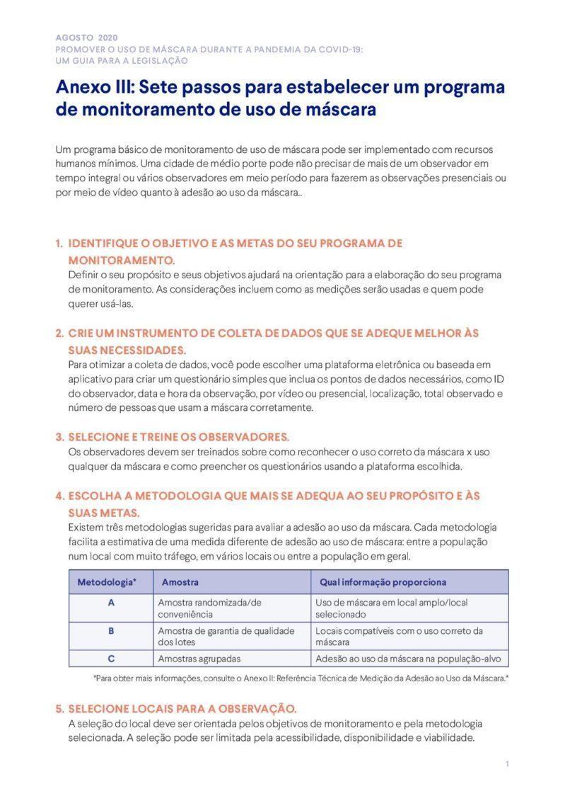 Anexo III | Sete passos para estabelecer um programa de monitoramento de uso de máscara cover