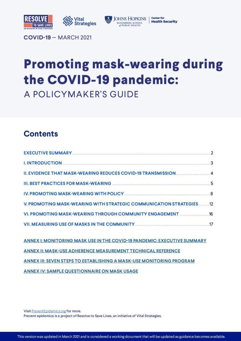 Promoting Mask-Wearing During the COVID-19 Pandemic: A policymaker's guide cover