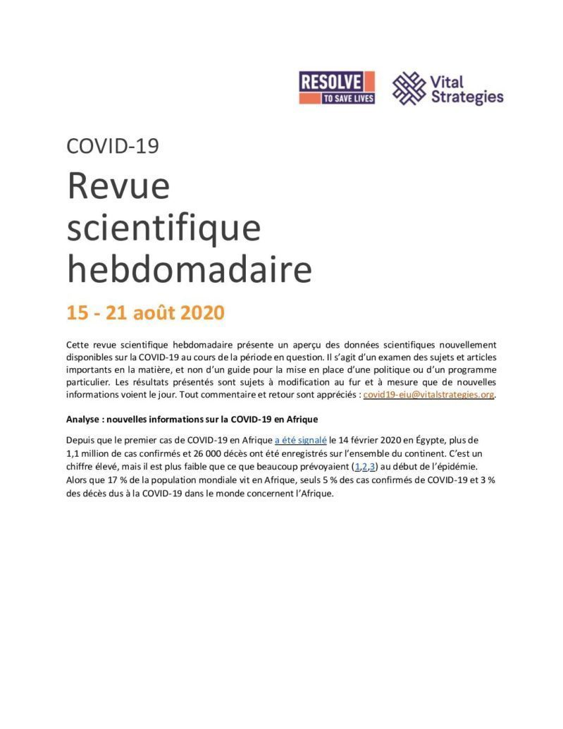 Weekly Science Review French 15-21 August 2020 cover