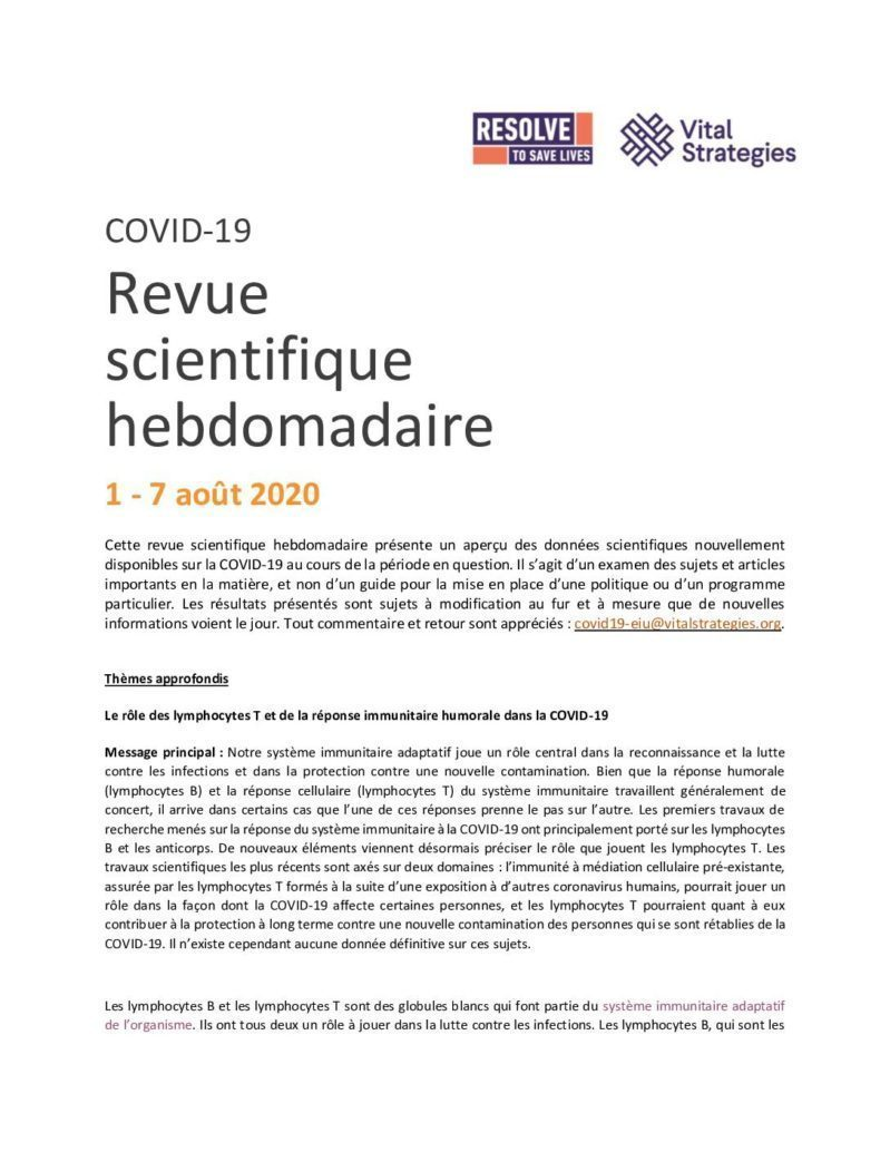 Weekly Science Review French 1-7 August 2020 cover