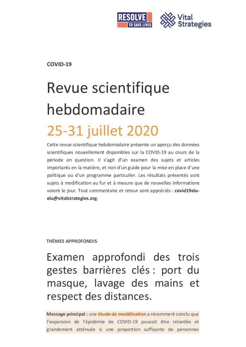 Weekly Science Review French 25-31 July 2020 cover