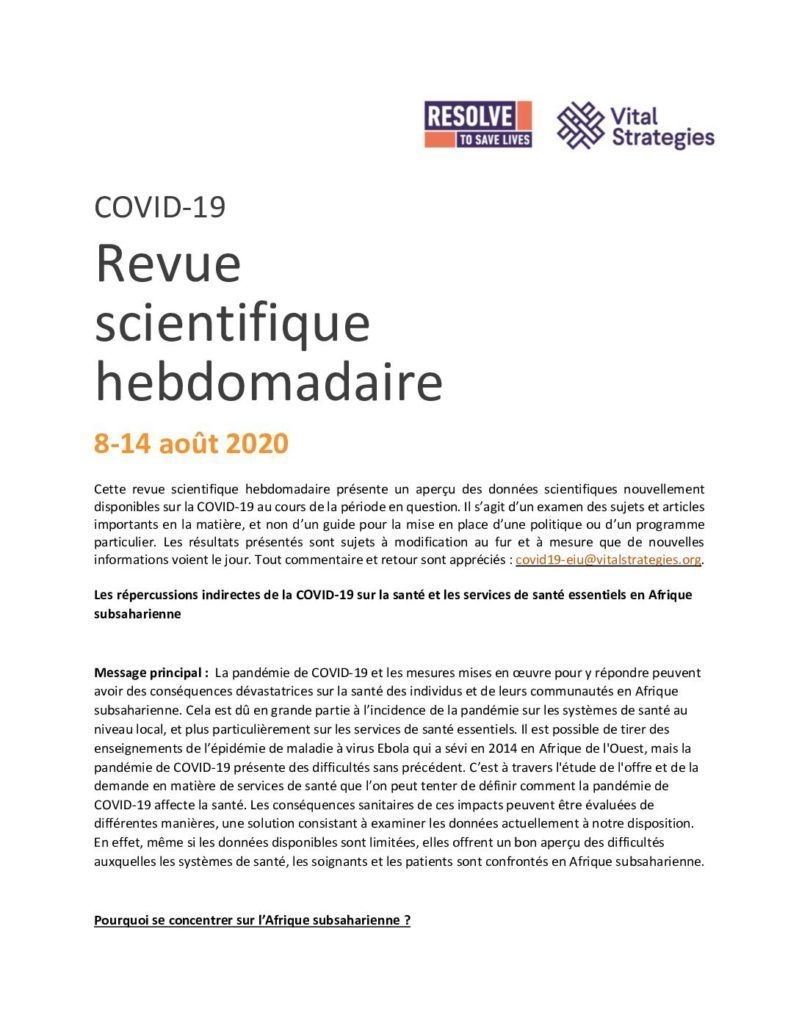 Weekly Science Review French 8-14 August 2020 cover