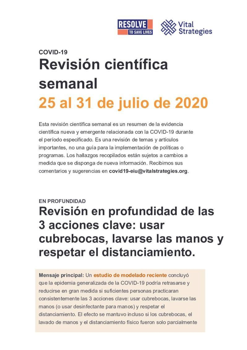 Weekly Science Review Spanish July 25-31 2020 cover