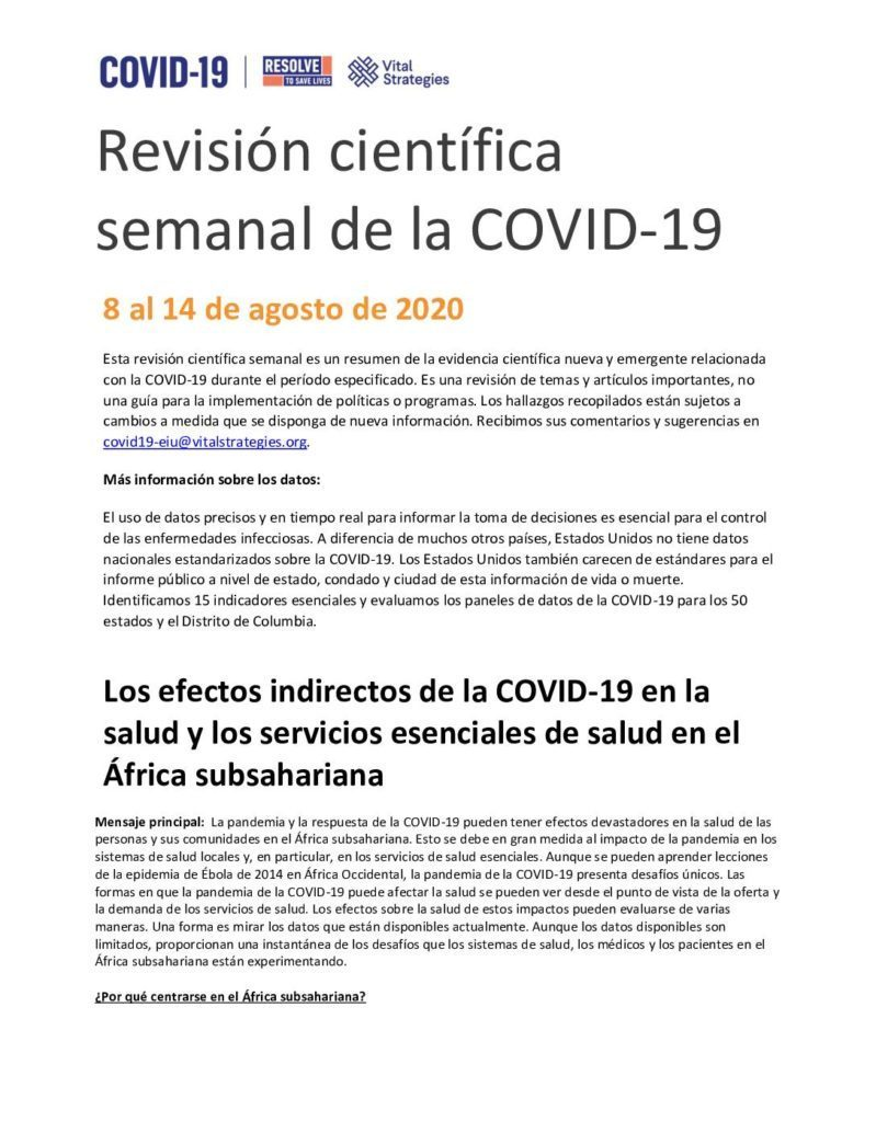 Weekly Science Review Spanish August 8-14 2020 cover
