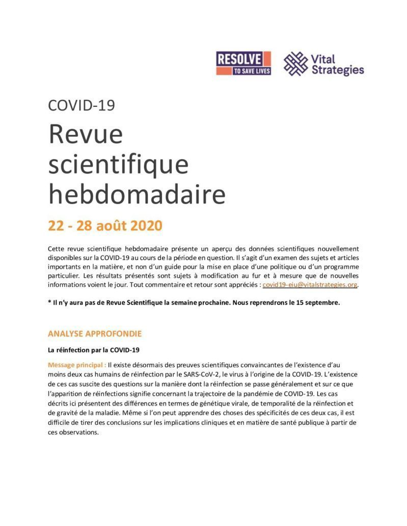 Weekly Science Review French 22-28 August 2020 cover