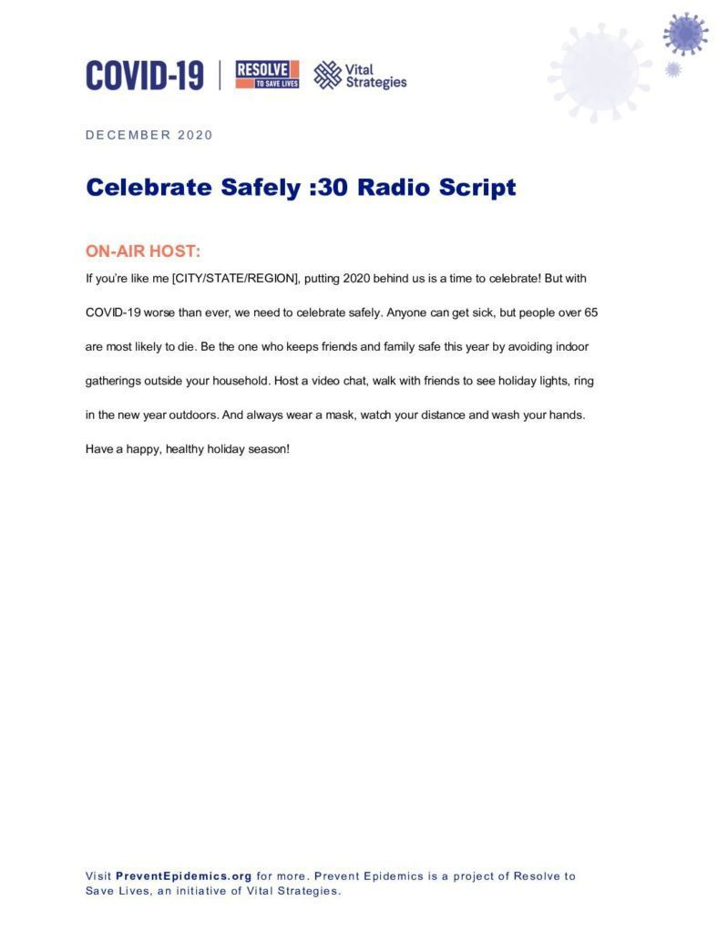 Celebrate Safely -30 Radio Script cover
