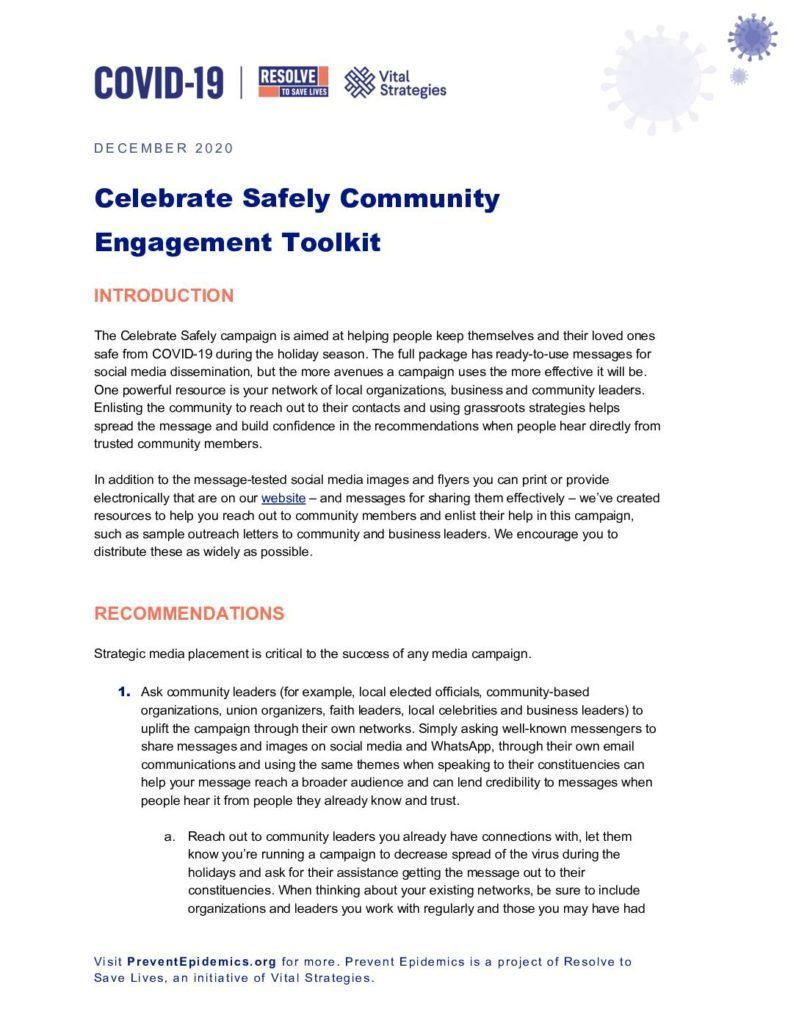 Celebrate Safely Community Engagement Toolkit cover