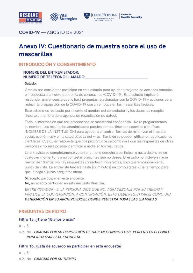 Anexo IV | Cuestionario de muestra sobre el uso de mascarillas cover