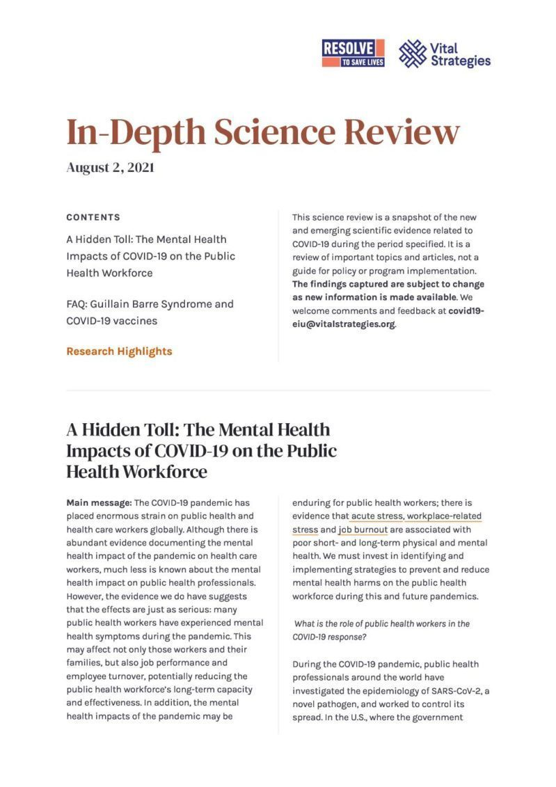Science Review_ August 2, 2021 _ Prevent Epidemics cover